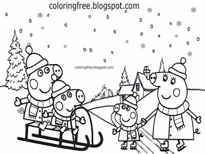 christmas peppa pig coloring pages winter easy printable