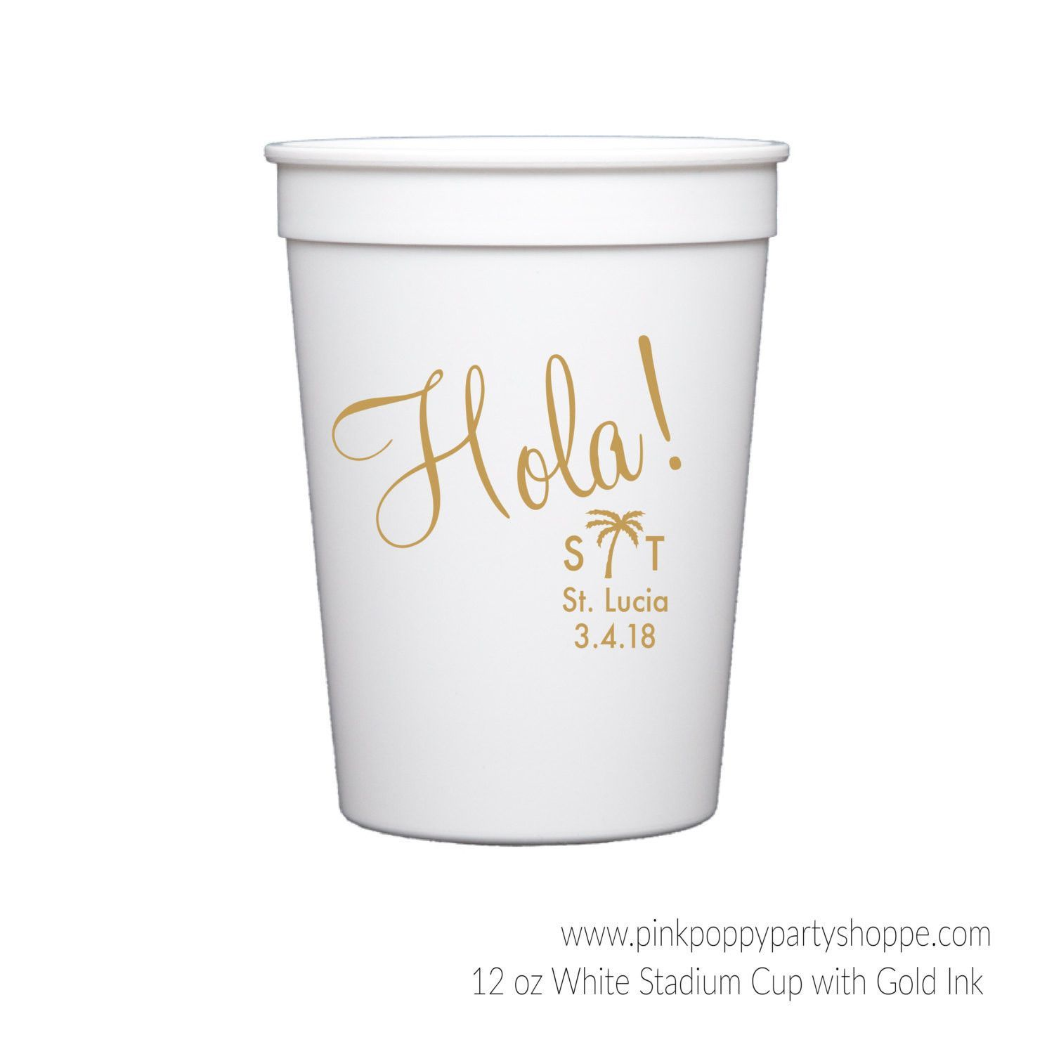 Hola Destination / Tropical Wedding Personalized Stadium Plastic Cups