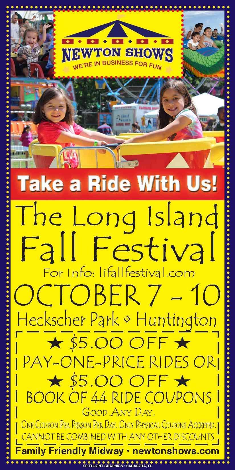 The Long Island Fall Festival October 7 10 2016 Heckscher Park Huntington 5 Off Coupon Island Falls Island Long Island