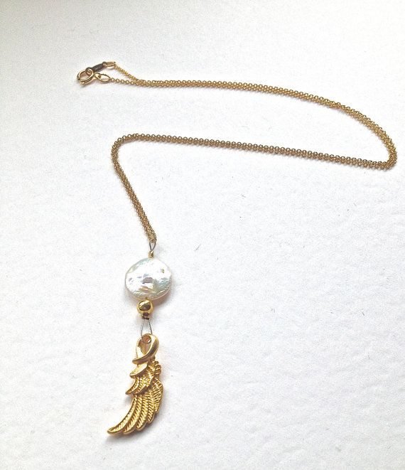 Wing Charm on Gold Filled Cable Chain  Guardian Angel by Annyse