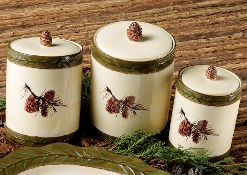 Pinecone Stoneware Canister Set - 3 pcs Black Forest Decor http://www.amazon.com/dp/B00AJNZDQE/ref=cm_sw_r_pi_dp_h8FUtb0WNHX6W473