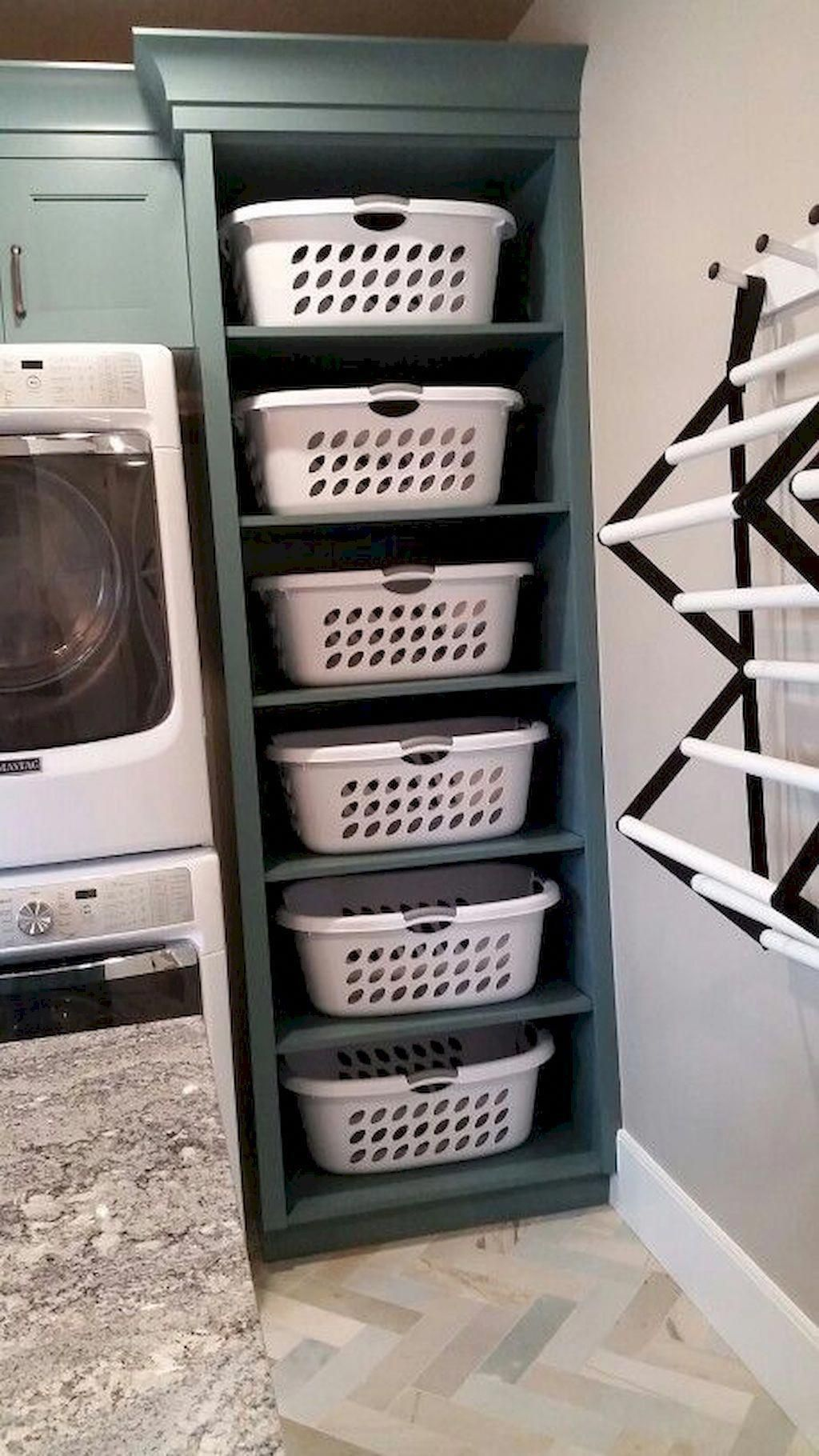 Stack washer and dryer with storage next to it. Island in the middle for folding...#dryer #folding #island #middle #stack #storage #washer