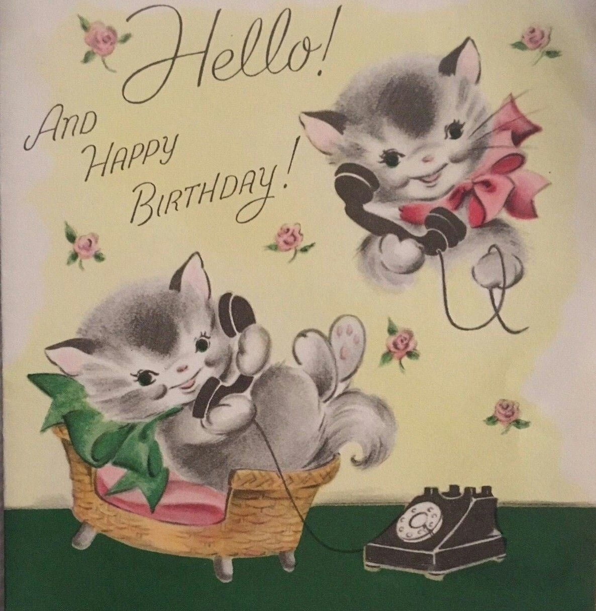 Cats on the phone Vintage birthday cards, Kittens