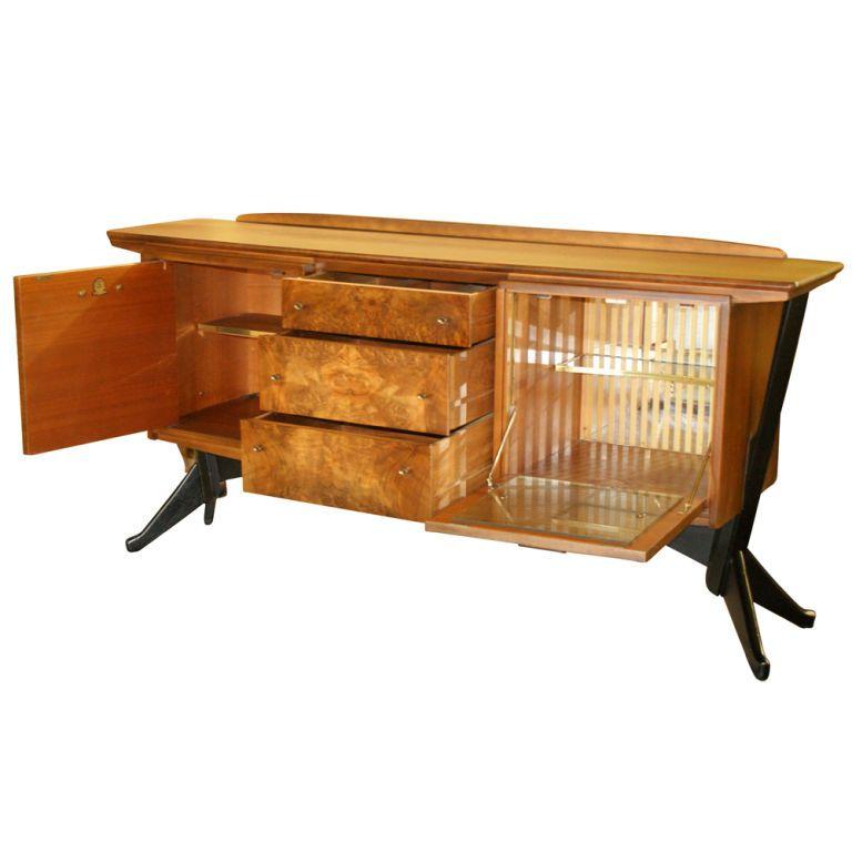 Mid Century Modern Walnut And Burl Bar Liquor Cabinet