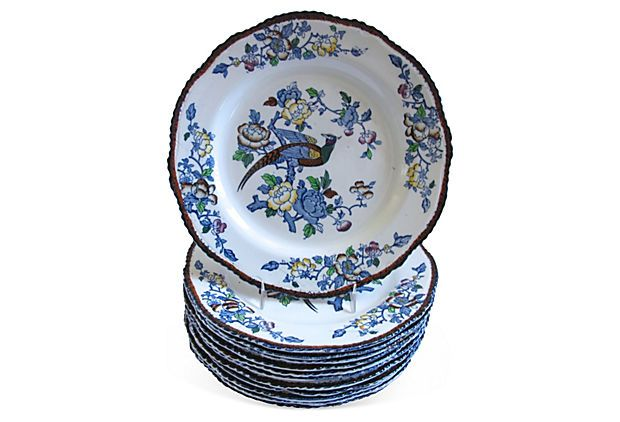English Transferware Dinner Plates, S/12