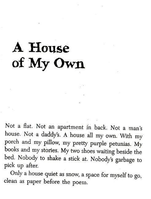 a poetic view of life in the house on mango street by sandra cisneros Sandra cisneros album the house on mango street 5  she looked out the  window her whole life, the way so many women sit their sadness on an elbow.