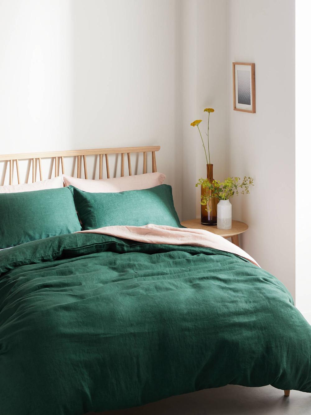 John Lewis Partners 100 Linen Bedding At John Lewis Partners Green Comforter Bedroom Bedroom Color Schemes Comfortable Bedroom
