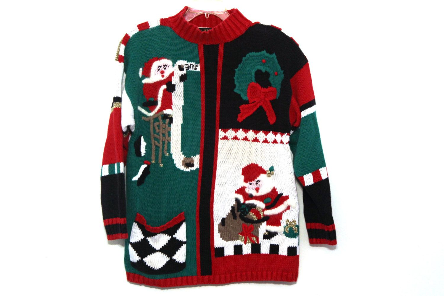 Vintage Christmas sweater santa red green black by