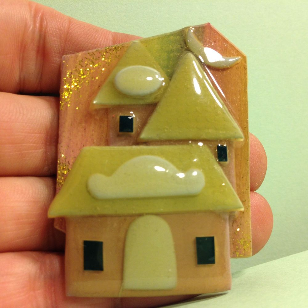 Signed LUCINDA Sparkly HOUSE UNDER A MOON BROOCH Pin Plastic Home Jewelry #Lucinda