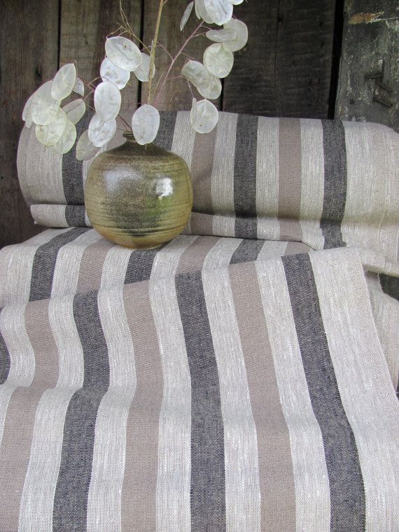 Extra Long Striped Burlap Linen Table Runner Rustic By MilaStyle