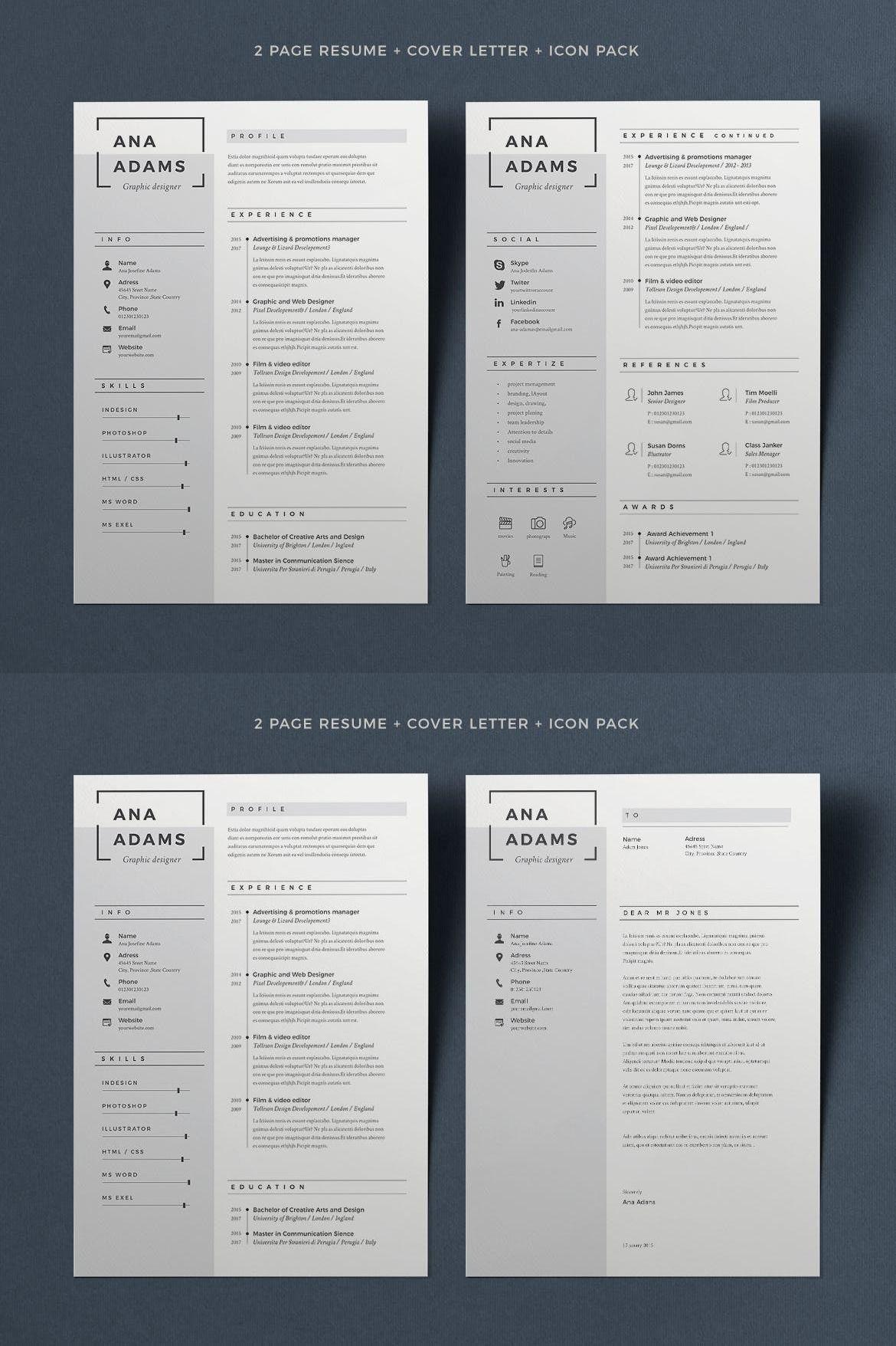 Resume Anna — Adobe InDesign indesign cv Cover letter