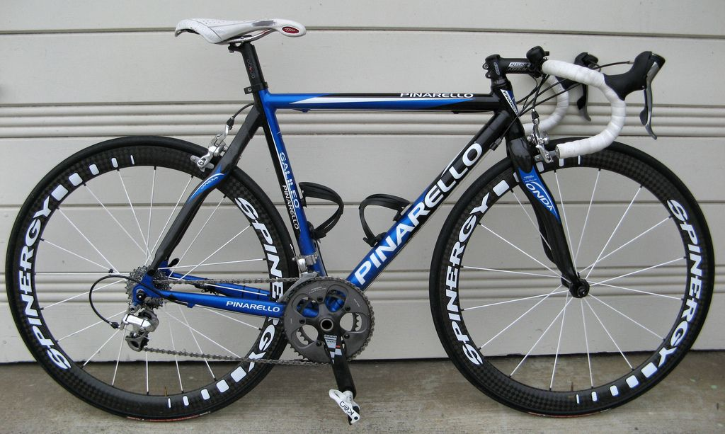 https://flic.kr/p/57bzKU | 2007 Pinarello Galileo 50cm 20090616 | Stuff that replaced the stock component: - Wheels, Spinergy FCC PBO - Seatpost, Lapierre 31.6 aluminum, micro-adjust - Saddle, Selle Italia Flite 316 Gel Flow - Stem, Ritchey Pro - Handlebars, Easton EA70 Pro Bend - Chainset, SRAM Red, 165mm, 50/34