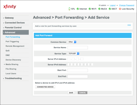 Set Up Port Forwarding On Your Xfinity Gateway Port Forwarding