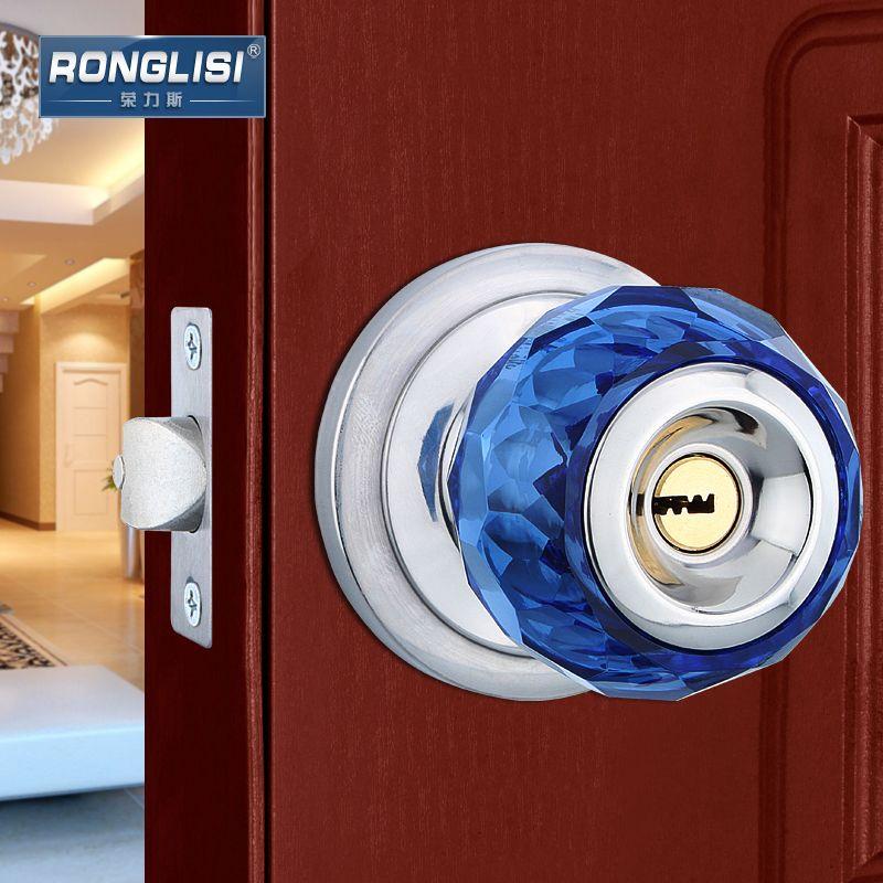 High Quality Crystal Glass Spherical Door Locks Room Bedroom Wooden Door One Single Lock Wooden Doors Crystal Glass Crystals