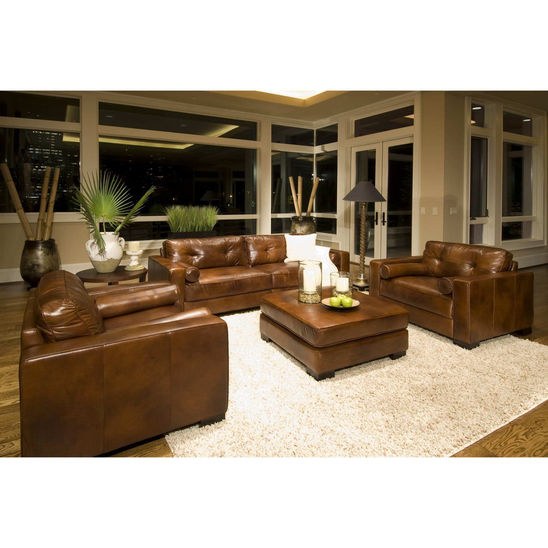 Soho 4-Piece Top Grain Leather Collection in Rustic ...