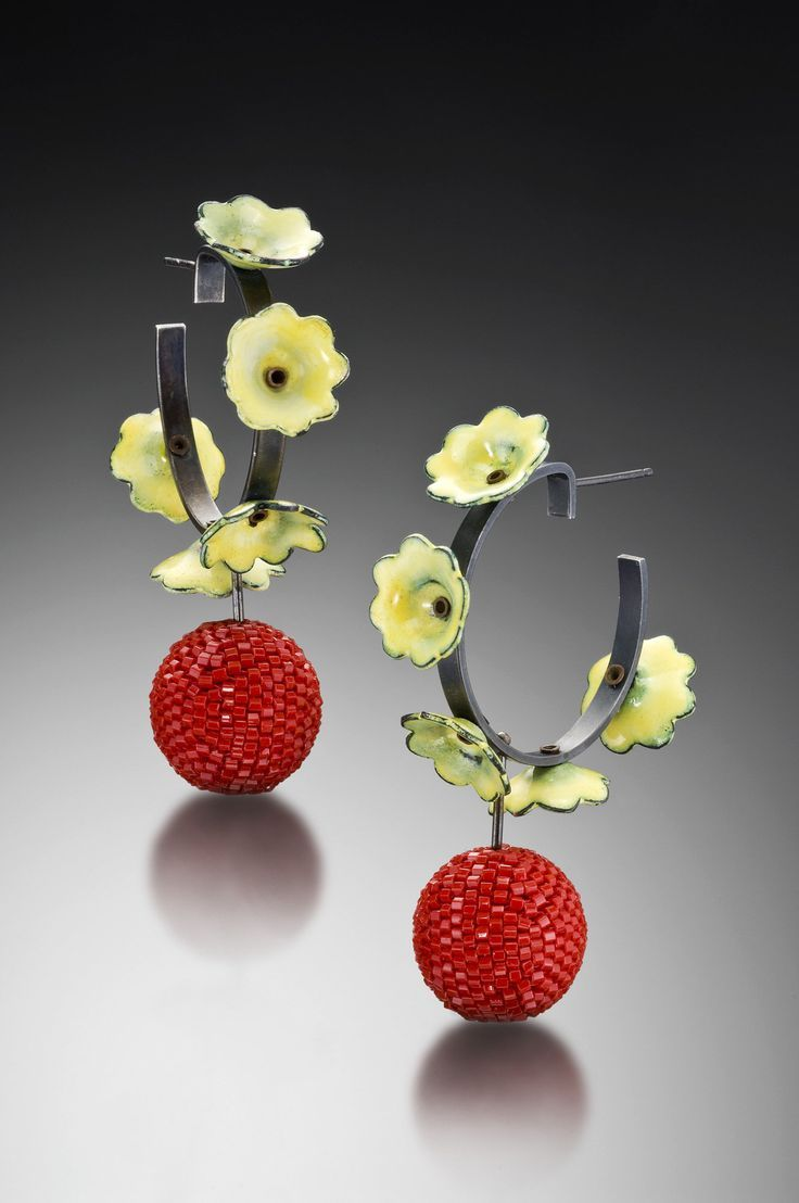 Buttercup Earrings by Lauren Schlossberg. Hoop Earrings constructed of fabricated sterling silver and copper, vitreous enamel, and woven glass beads.
