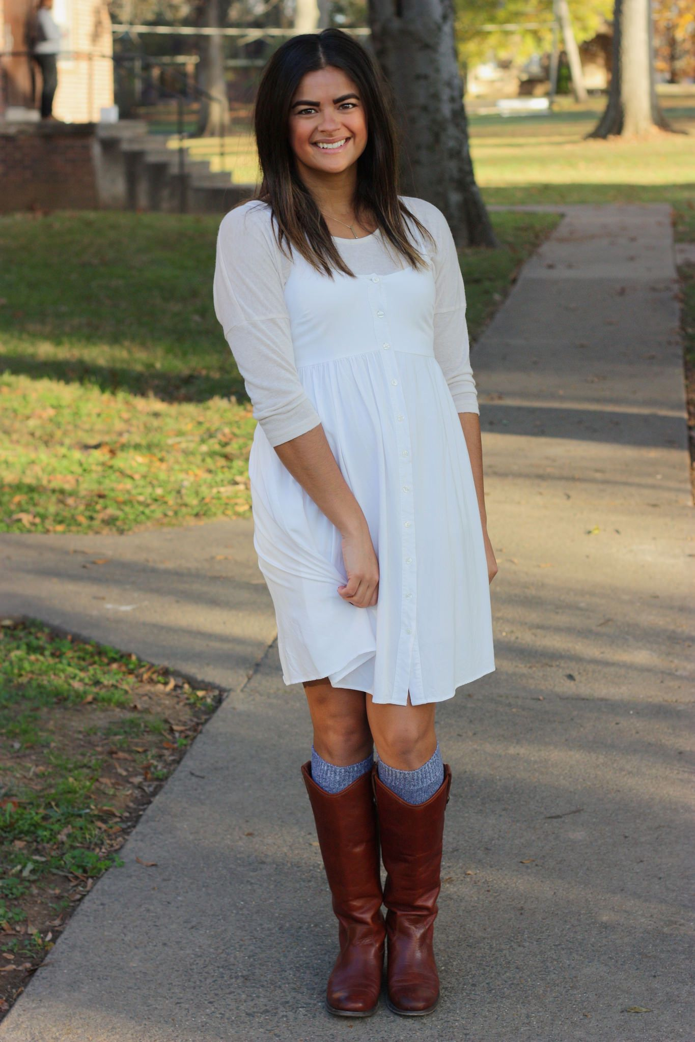5f1431e2119 Fall layered outfit. Neutral sweater under white sundress