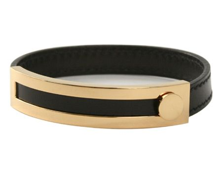 Hermes Leather And Gold Bracelet Clear Cut Lines 3