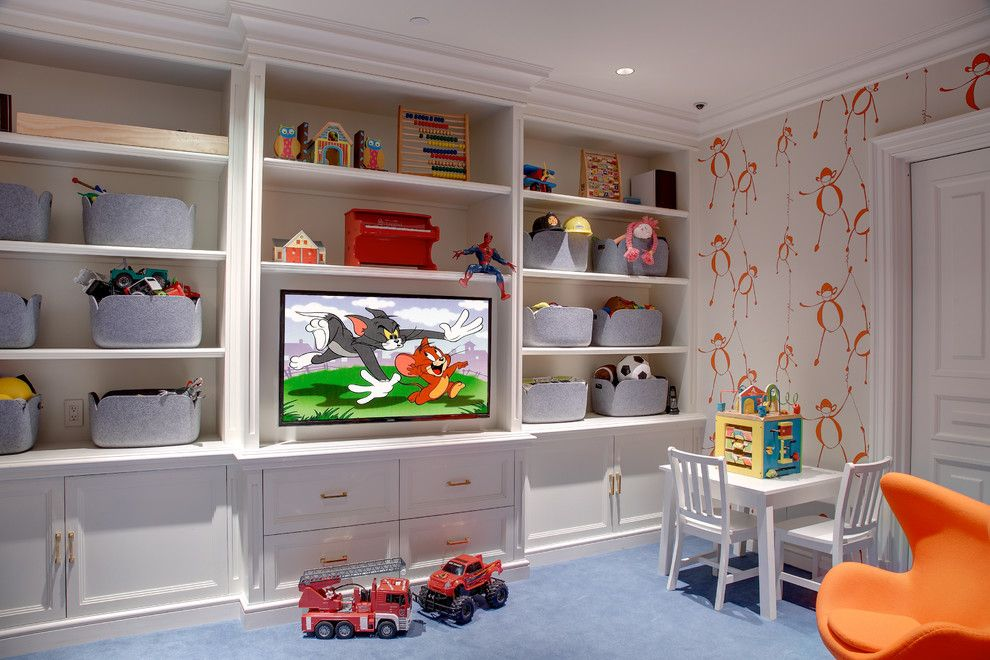 Kids Playroom Custom Built In Cabinetry And Tv By Innerspace Electronics Interior Design By Lynde Easterlin Loft Playroom Small Playroom Kids Bedroom