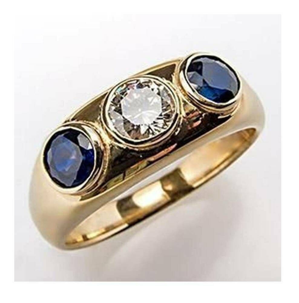 6 00 Ct Round 3 Stone Blue Sapphire Diamond Engagement Ring 14k Yellow Gold Gp Animasjewel In 2020 Mens Gemstone Rings Blue Sapphire Wedding Band Vintage Gold Rings