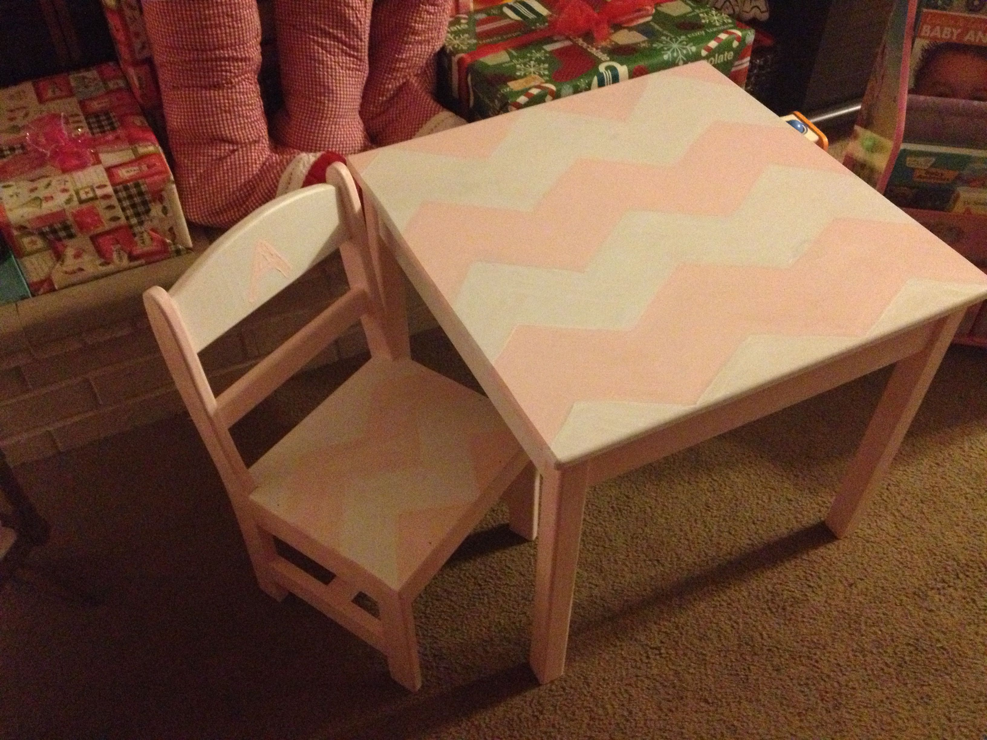 Hand Painted Pink And White Chevron Kids Table And Chair