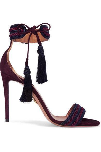 Trendy High Heels Inspiration    Le talon mesure environ 105 mm Daim violet Liens à nouer à la cheville Fabriquées en Italie  - #Heels https://talkfashion.net/shoes/heels/trendy-high-heels-inspiration-le-talon-mesure-environ-105-mm-daim-violet-liens-a-nouer-a-la-cheville-fabriqu/