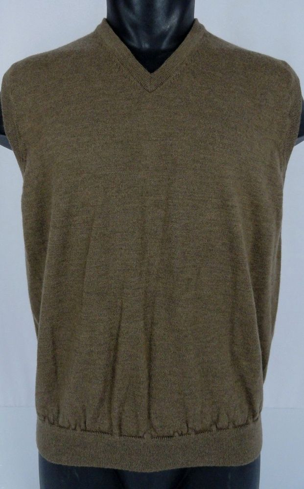 BROOKS BROTHERS V-Neck Sweater Vest 100% Merino Wool Light Heather ...