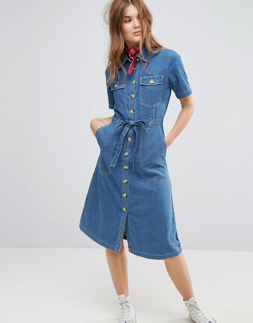 7b8d717e32d Leon and Harper Midi Shirt Dress in Denim - Blue