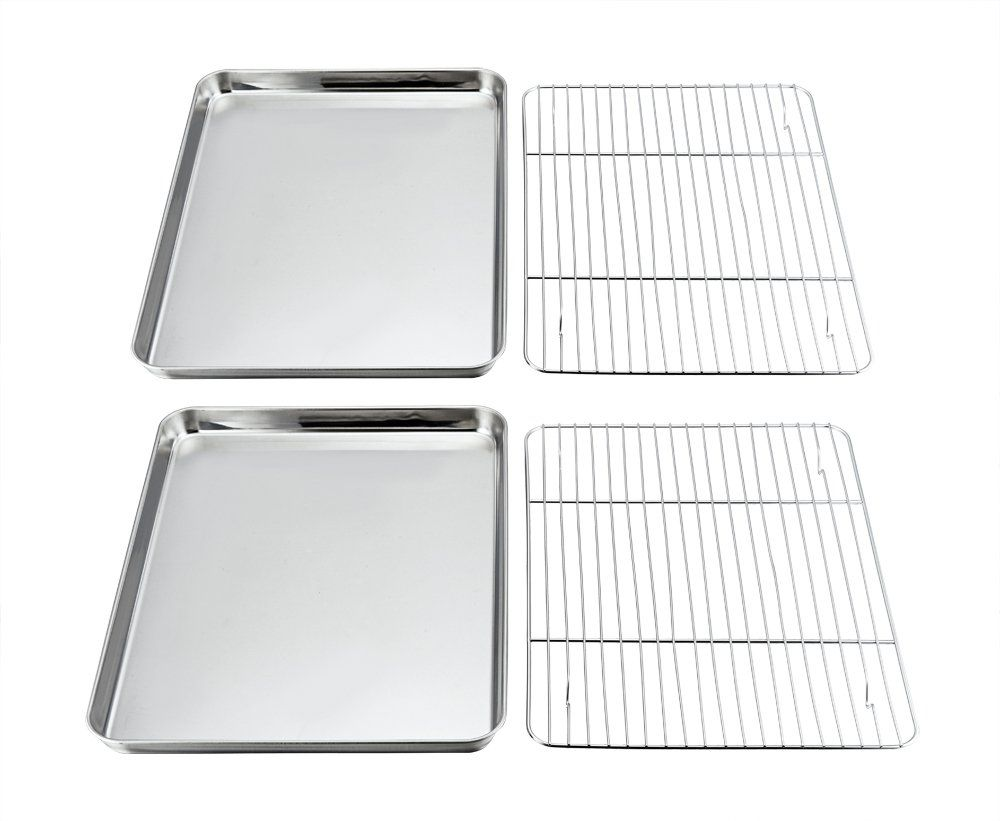 Pandp Chef Baking Sheets And Rack Set Pack Of 4 2 Sheets 2 Racks Stainless Steel Baking Pans Cookie Tray With Cooling Pan Cookies Cookie Tray Baking Pans