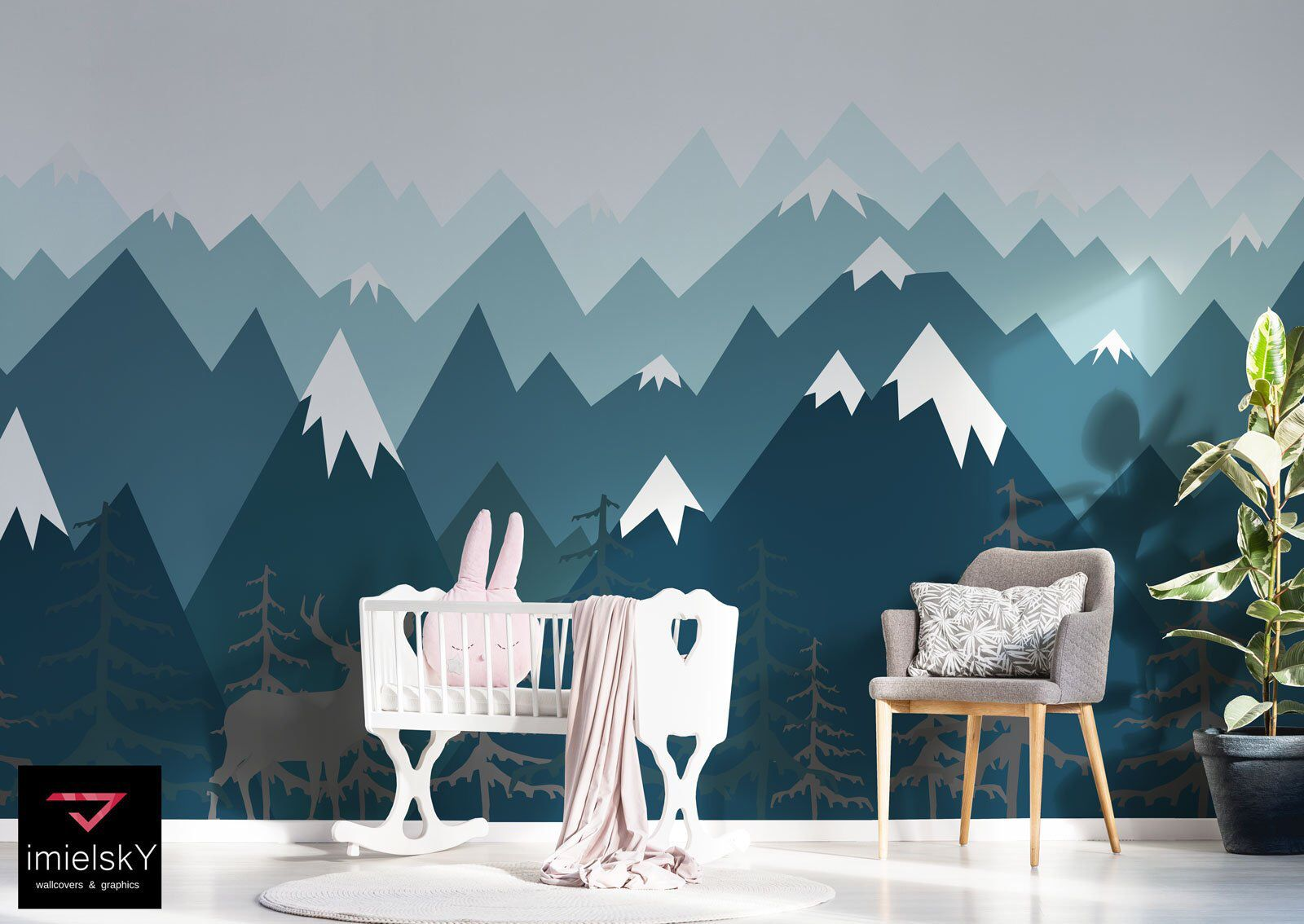 Mountain Wall Decals Nursery Baby Room Navy Blue Ombre Wall Art Repositionable Woodland Wall Mountain Wall Decal Mountain Wall Decal Nursery Navy Blue Wall Art