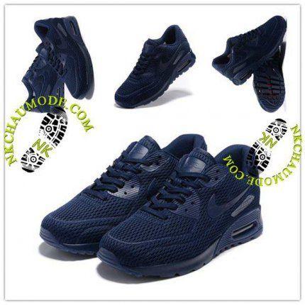 huge discount 592f6 fde3d Tendance   Nike Chaussure Sport Air Max 90 2016 Femme Nouveau High-Frequency  Bleu Profond