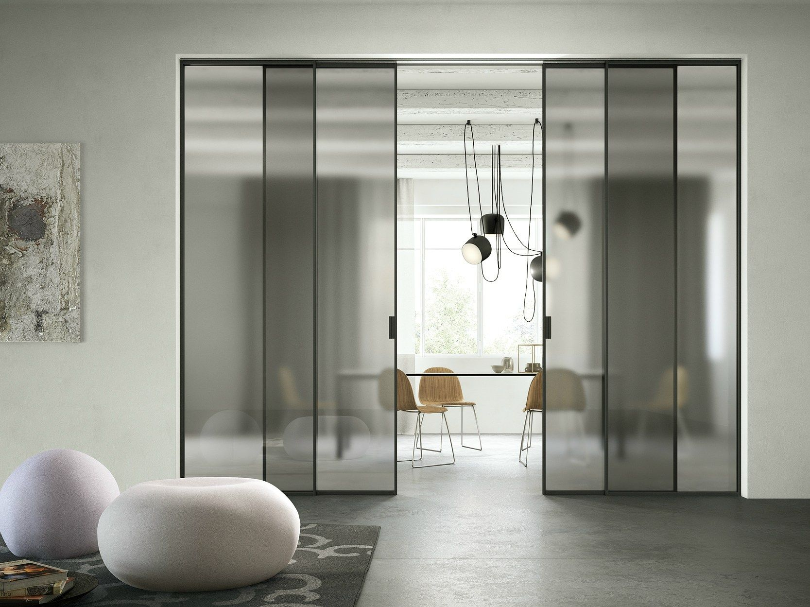 Tempered Glass Sliding Door Delineo Scenario Collection By Ferrerolegno Movable Walls Interior Internal Doors