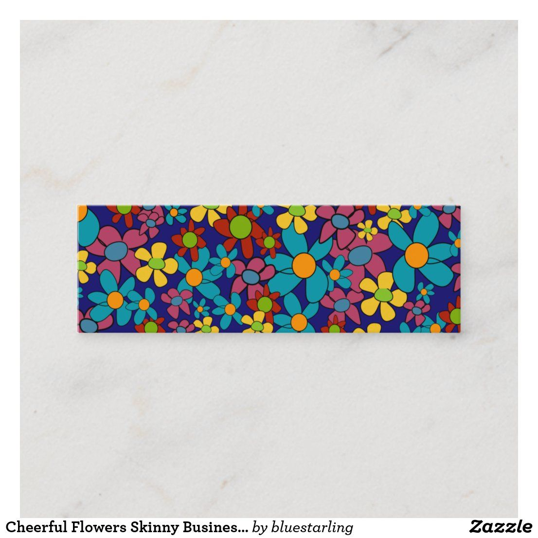 Cheerful Flowers Skinny Business Card Template Zazzle Com In 2020 Business Card Template Card Template Mini Business Card