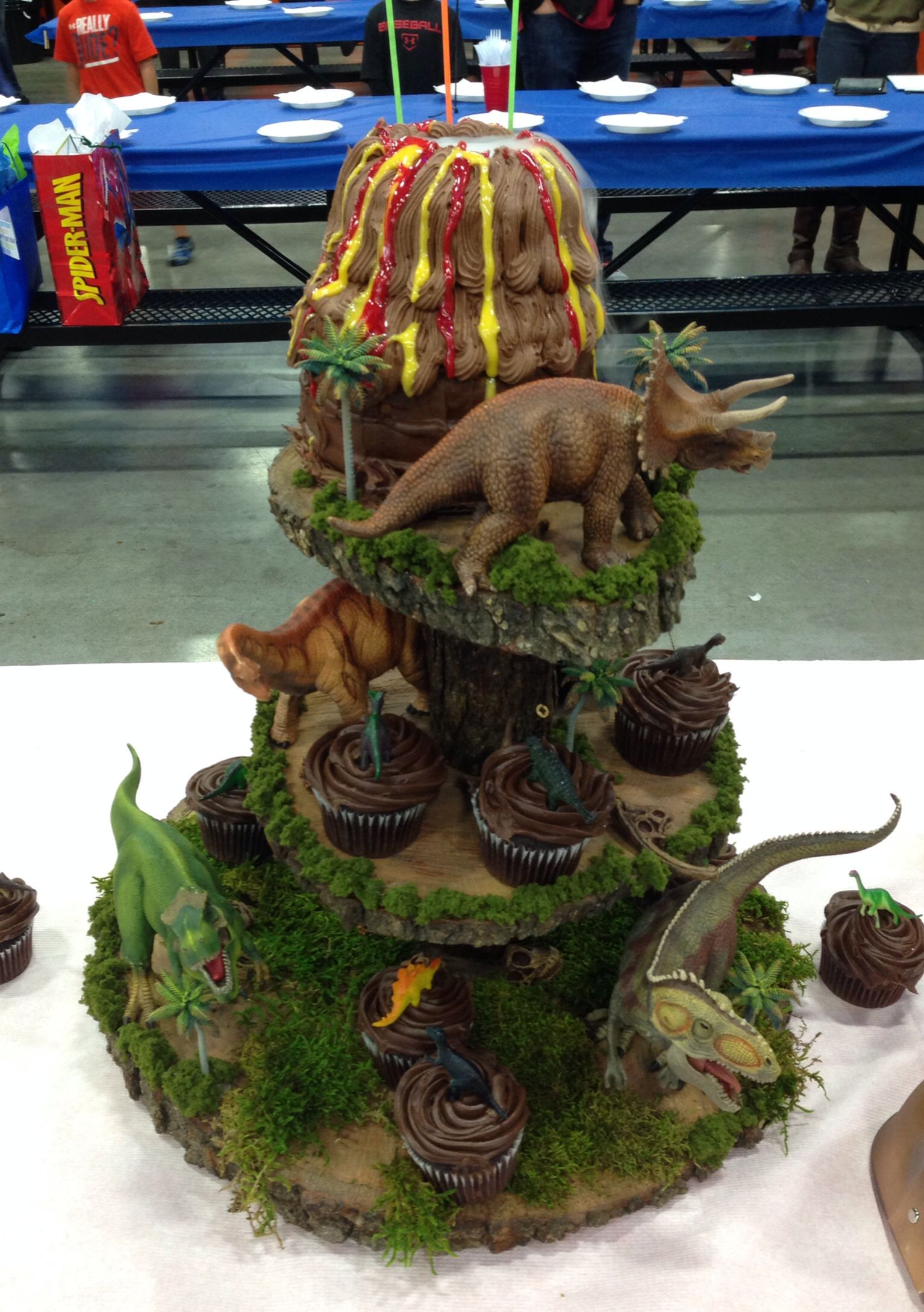 Dinosaur Cupcake Tower And Volcano Cake Dinosaur