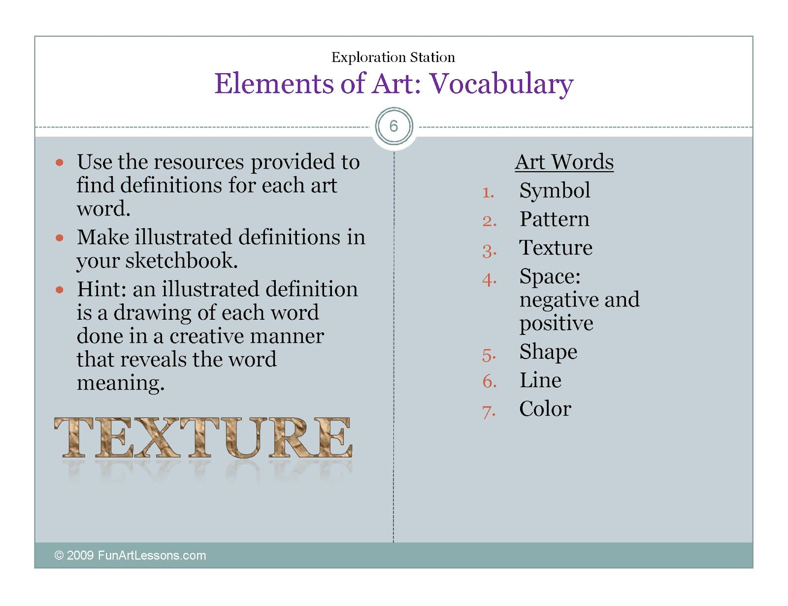 Elements Of Art Worksheets | ... clay pendants unit to create six ...