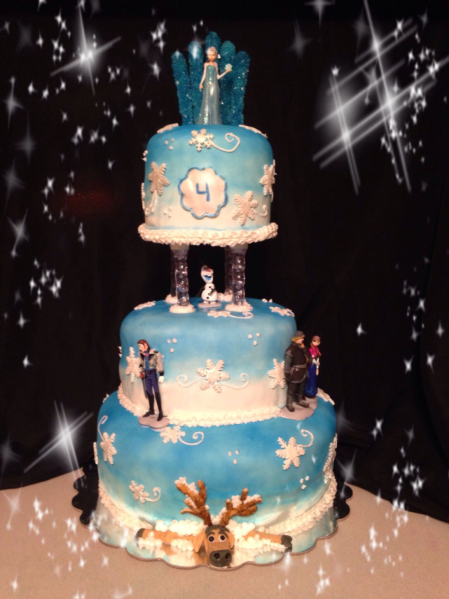 Groovy Disney Frozen Cake 3 Tier Beautiful Cake Elsa And Rock Candy On Funny Birthday Cards Online Elaedamsfinfo