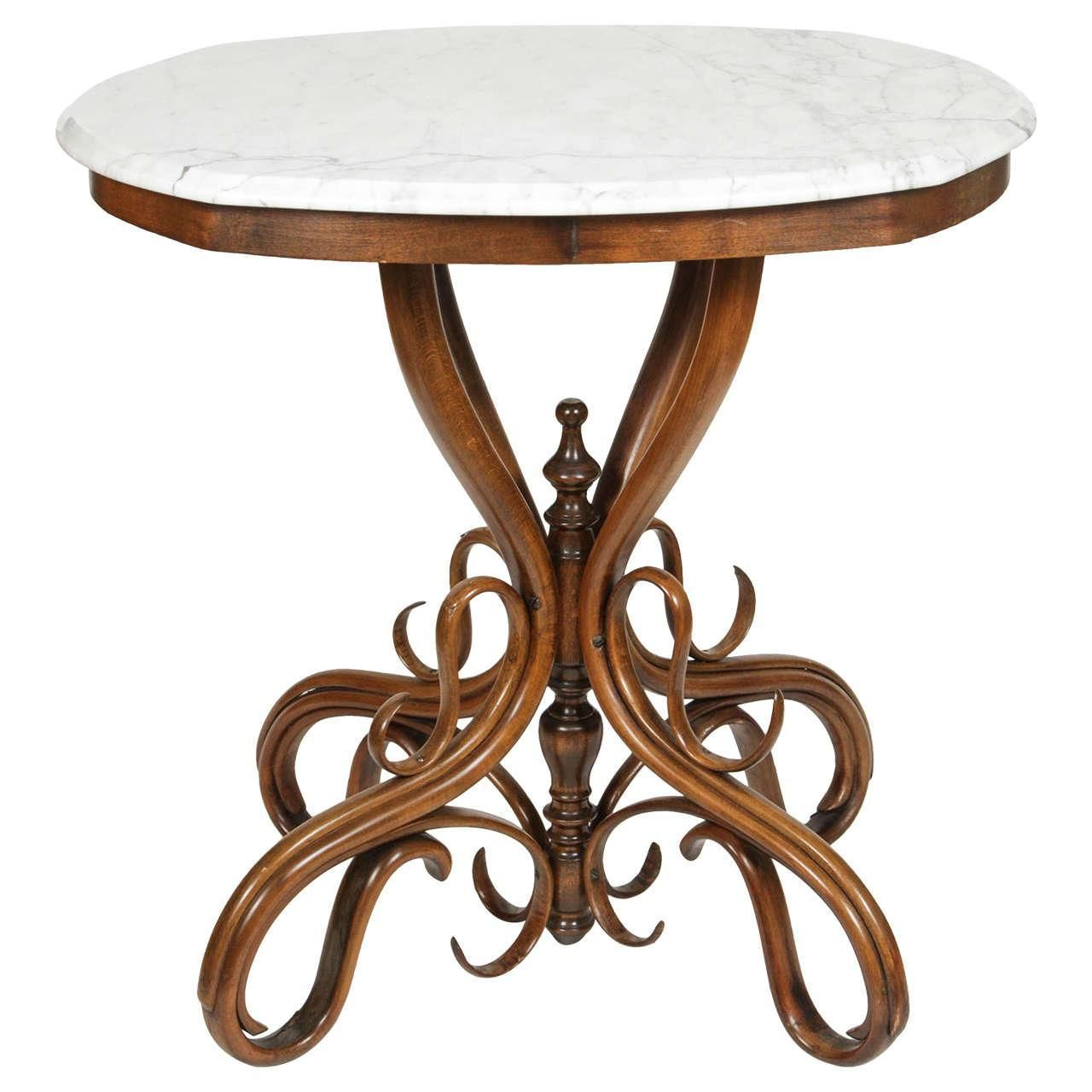 Attractive A Thonet Bentwood Side Table With Marble Top. Bentwood Pedestal Base With  Turned Standard.