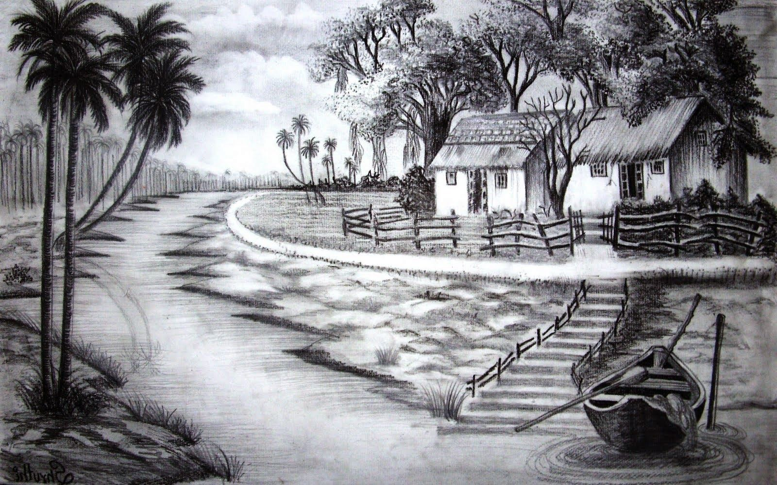 You Can Draw Painting And Pencil Drawing Of Nature In 2020 With Images Pencil Drawings Of Nature Landscape Pencil Drawings Nature Drawing