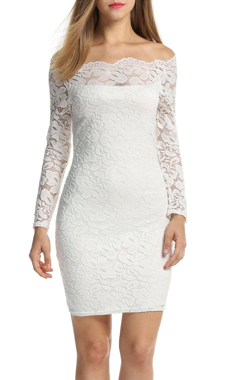 ACEVOG Women's Off Shoulder Lace Dress Long Sleeve Bodycon Casual Dresses…