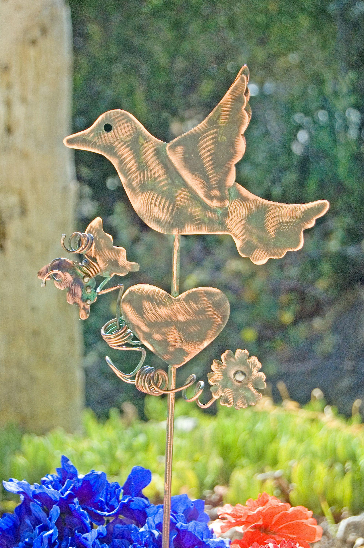 Sale Bird Metal Yard Art Garden Plant Stake Copper Garden Art