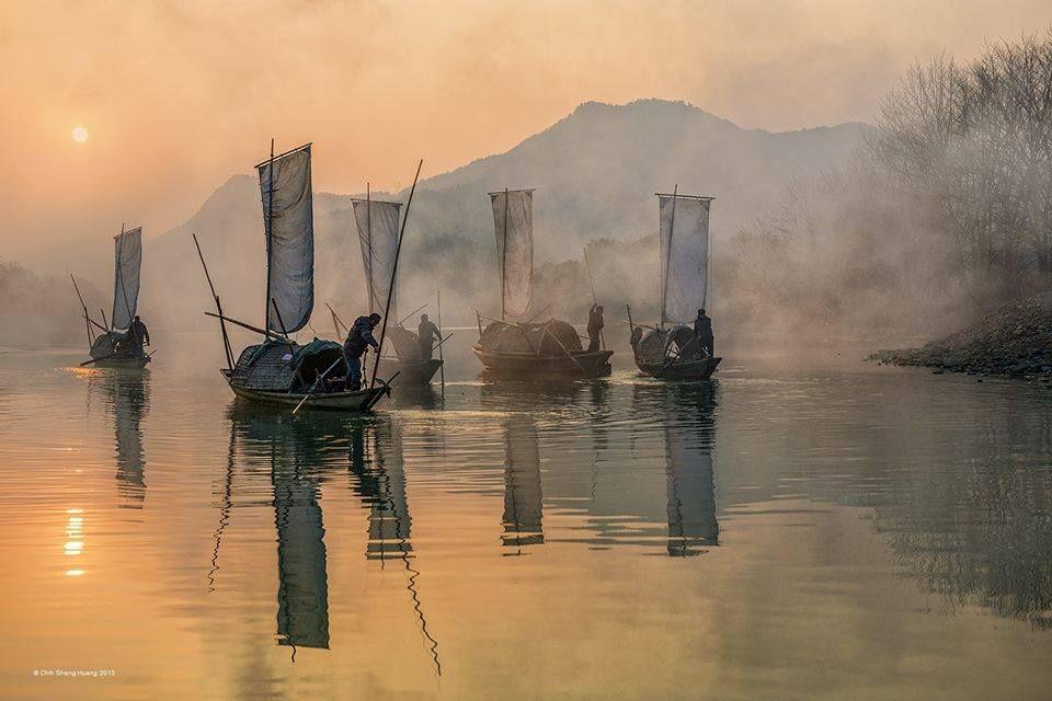 Fishermen By Chih Sheng Huang Wonderful Watercolor