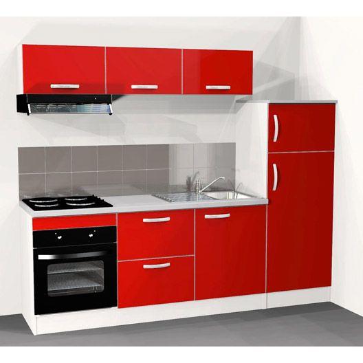 Cuisine Equipee Spring 240 Cm Rouge Electromenager Inclus Muebles De Cocina Cocinas Pequenas Cocinas