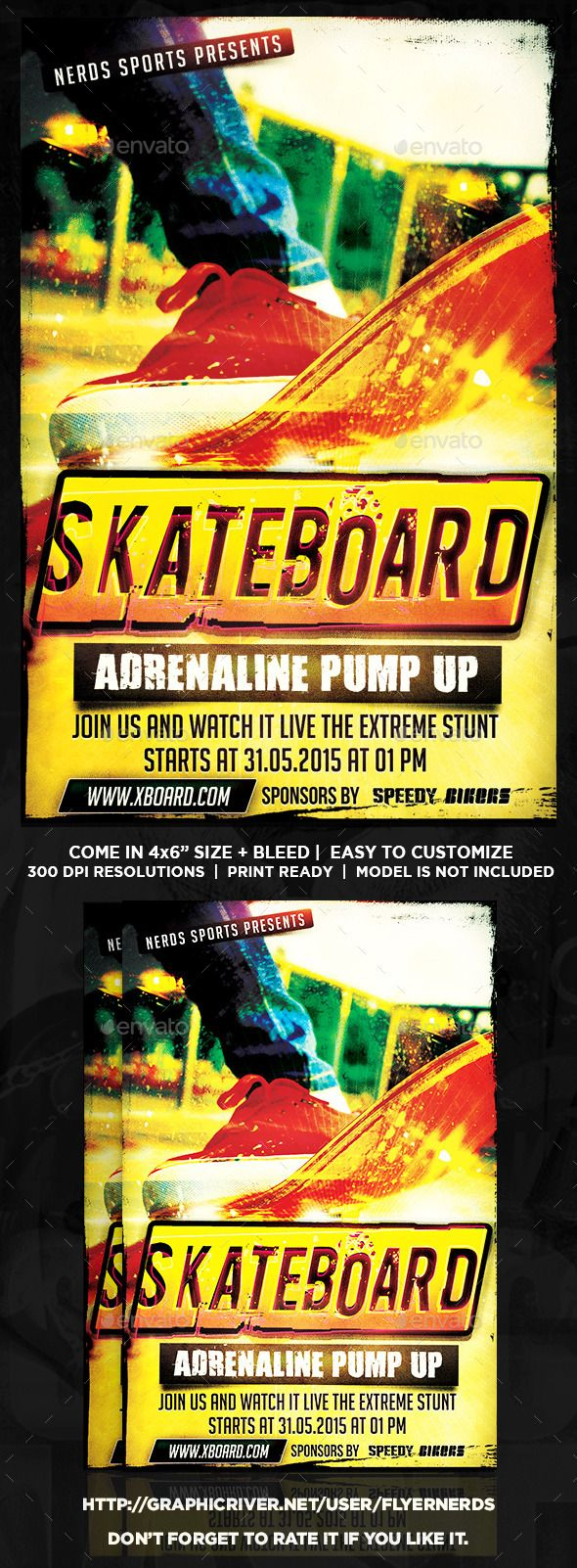 Skateboard Competition Sports Flyer  Skateboard Event Flyers And