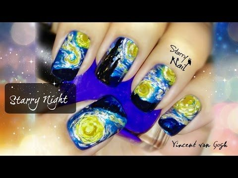 Vincent Van Gogh Starry Night Nail Art Tutorial Youtube Nails