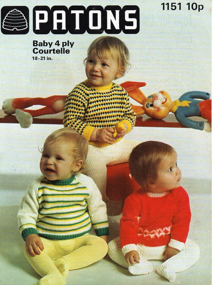 Vintage baby sweaters knitting pattern pdf 4ply baby jumpers striped ...