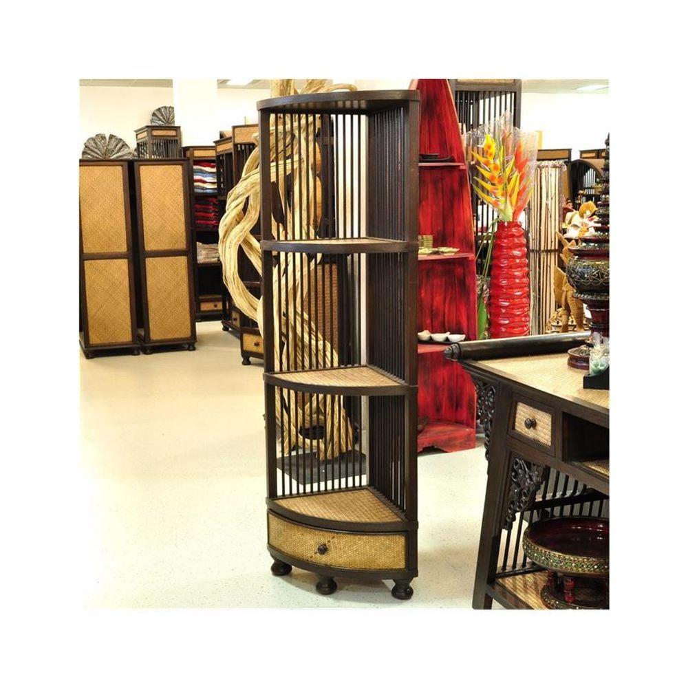 Regal Eckregal Bambus Holz Mit Schublade 150x42cm
