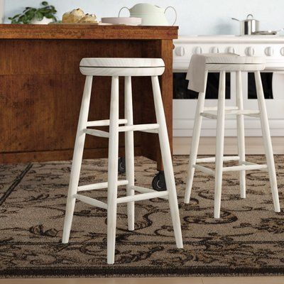 Birch Lane Heritage Dehn 30 Swivel Bar Stool Seat Color White