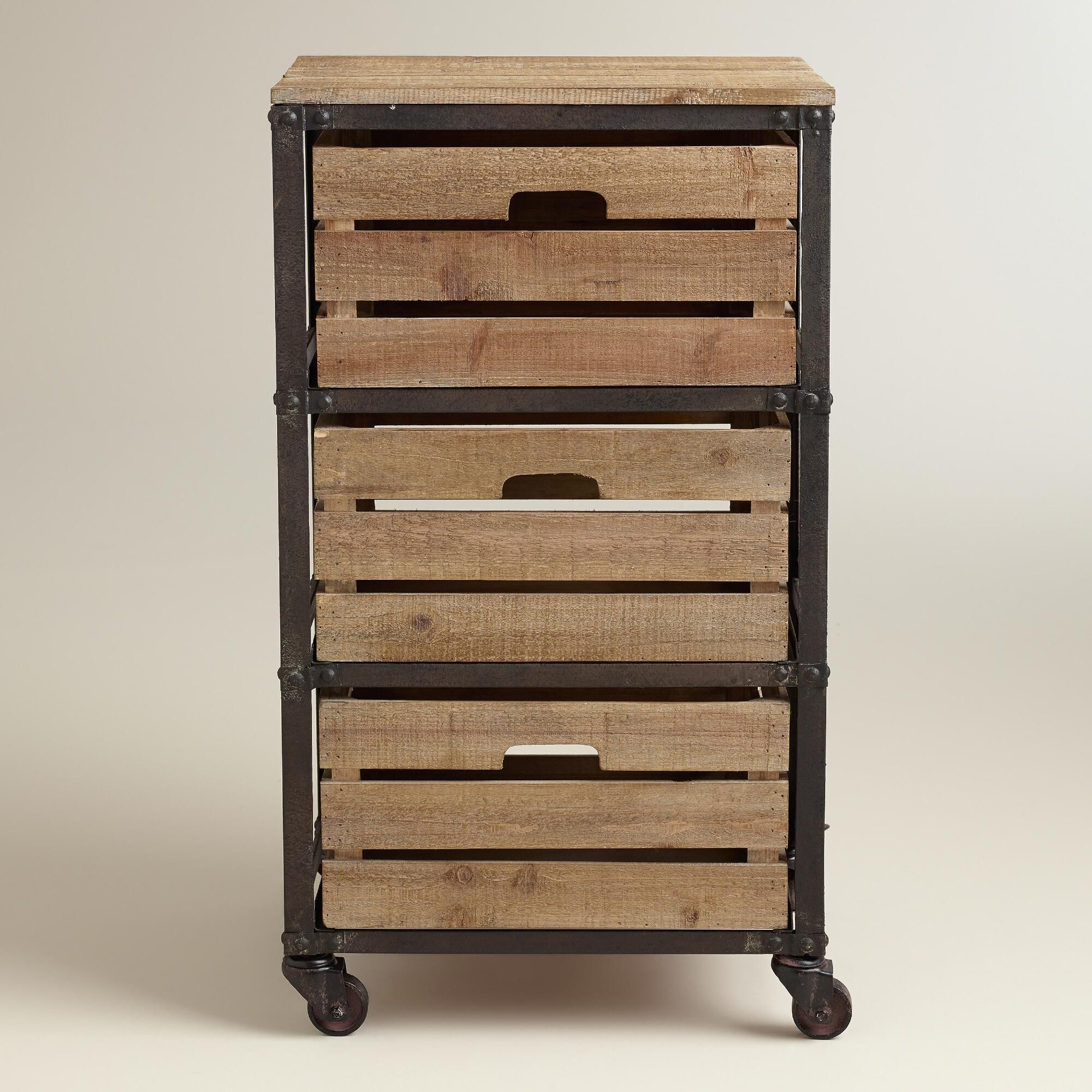 Metal and Wood 3-Drawer Josef Rolling Cart | Drawers, Metals and Woods