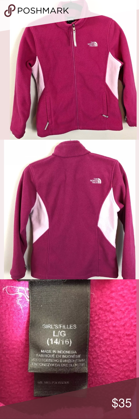 The north face large pink zip up fleece jacket my posh closet