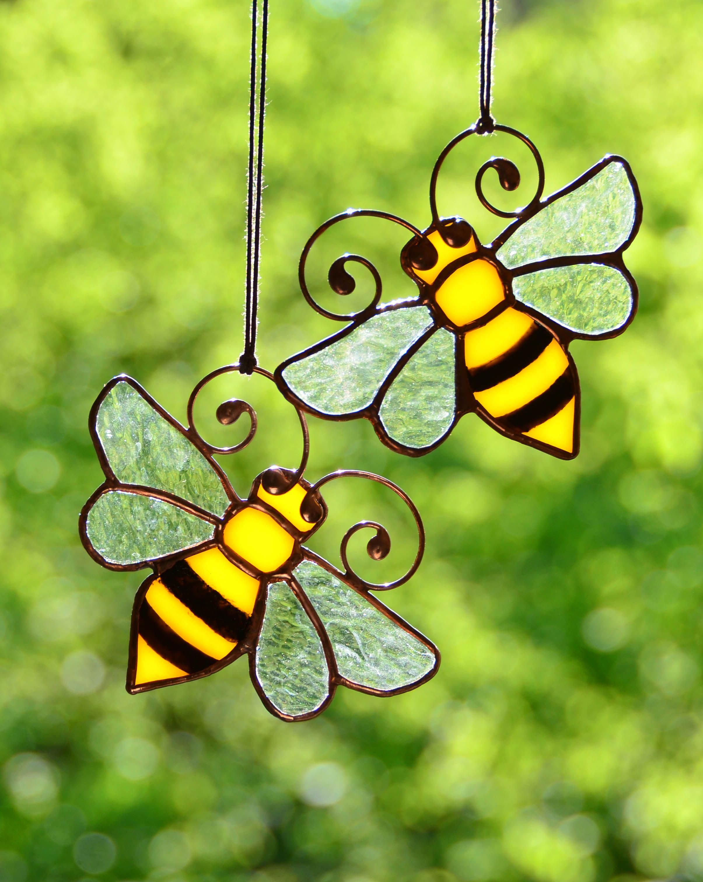 Honey Bee Decor Stained Gl